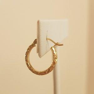 Jewelry - 14k Yellow gold Diamond cut hoop Earrings 15mm